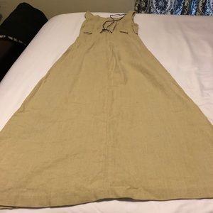 Linen tan maxi dress